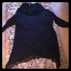 New Directions Black Cowl Neck 3/4 Sleeve Blouse